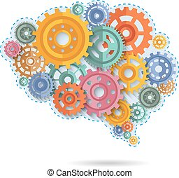 Color Gears Of Brain - Various flat style color gears in...