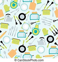 Cooking accessories seamless pattern