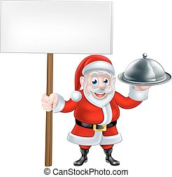 Santa Holding Dinner and Sign - Cartoon Santa Claus holding...