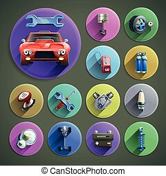 Car Repair Cartoon Icons Set - Car repair cartoon round...