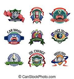 Auto mechanic service emblems set