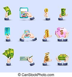 Hands payment flat icons set - Online cash and credit bank...
