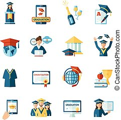School graduation flat icons set - High school college...