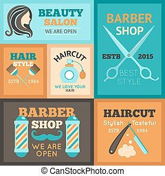 Hairdress Poster Set - Hairdress beauty salon and barber...