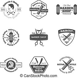 Hairdress Logo Set - Hairdress salon black logo and emblems...