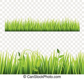 Grass Border Tileable Transparent - Green and bright grass...