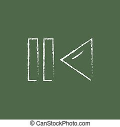 Pause and playback button icon drawn in chalk. - Pause and...