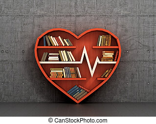 Wooden bookshelf in form of heart