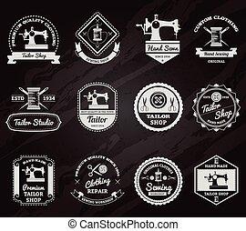 Tailor shop chalkboard labels icons set - Retro tailor shop...
