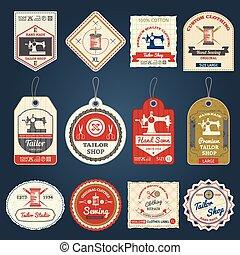 Tailor shop badges labels icons set - Premium tailor shop...
