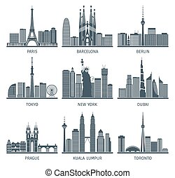 Urban Skylines Icons Set - Urban skylines black white icons...