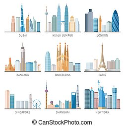 City skyline flat icons set - Famous capitals and cities...