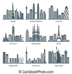 City skyline black icons set - World famous capitals cities...