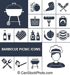 Barbecue picnic black icons set