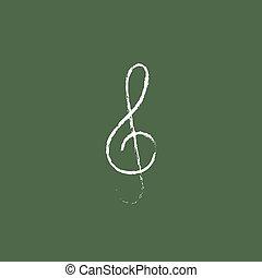 G-clef icon drawn in chalk - G-clef hand drawn in chalk on a...