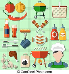 Barbecue Icons Set - Barbecue and picnic icons set with...
