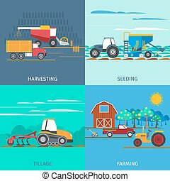 Farming Machines Icons Set - Farming machines icons set with...