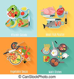 Home cooking 4 flat icons square banner - Home cooking main...