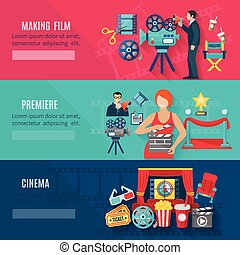Filmmaking Banners Set - Filmmaking and premiere horizontal...