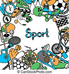 Sport Sketch Frame - Sport sketch frame with fitness game...