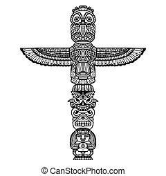 Doodle Totem Illustration - Doodle traditional indian...