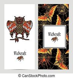 Witchcraft Magic Banner Set - Witchcraft vertical banner set...