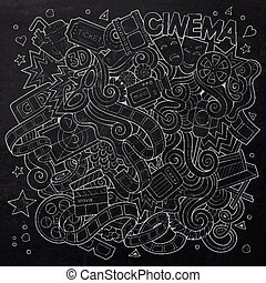 Cartoon vector hand-drawn Cinema Doodle Sketchy design -...