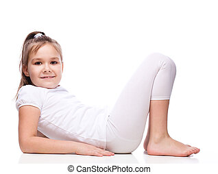 Sporty girl - Young sporty girl, isolated over white