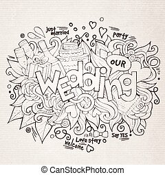 Wedding hand lettering and doodles elements sketch.