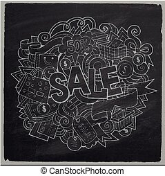 Sale hand lettering and doodles elements and symbols...