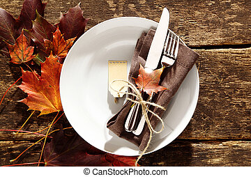 Rustic autumn place setting