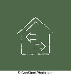 Property resale icon drawn in chalk - Property resale hand...