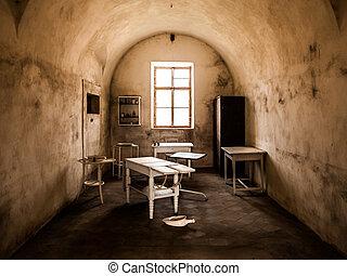 Vintage medical office in old abandoned hospital