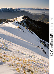 Mountain scenic of slope with grass and ice in winter in Mt...