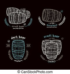 Barrel homebrew emblems in thin line style Print with shabby...