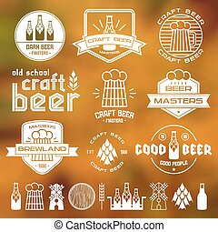 Craft beer brewery emblems, labels and design elements White...