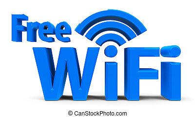 Free WiFi symbol - Blue free wifi symbol, icon or button...