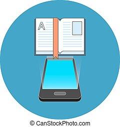 Smartphone e-book reading concept. Isometric design.