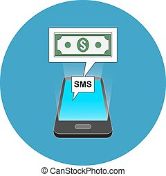 Smartphone sms transaction concept Isometric design Icon in...