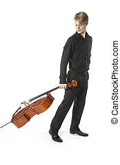 young blond caucasian man drags cello in studio against...