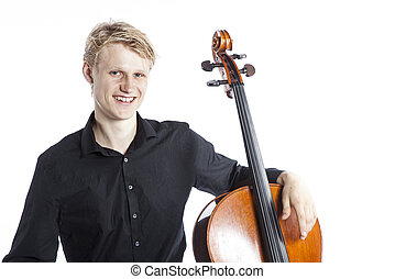 young blond caucasian man sits and leans arm on cello in studio against white background