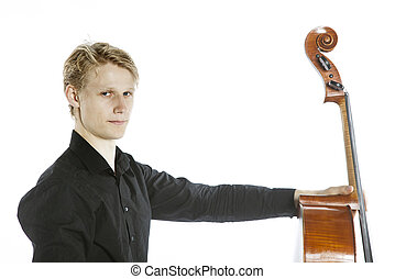 young blond caucasian man holds cello and looks into camera...