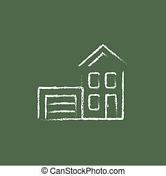 House with garage icon drawn in chalk.