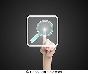 Female index finger touching search icon button, on black...