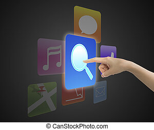 Woman hand touching search icon button with colorful apps