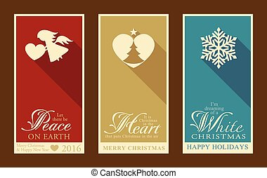 Set of flat Christmas and Happy New Year labels