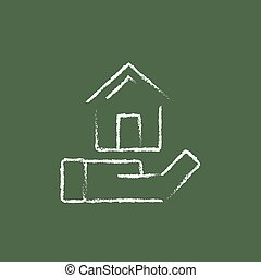 House insurance icon drawn in chalk. - House insurance hand...