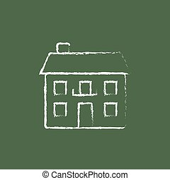 Two storey detached house icon drawn in chalk - Two storey...