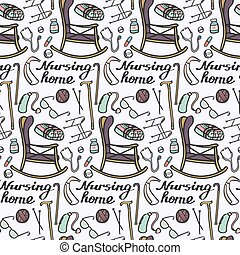 Nursing home set. Seamless pattern with hand-drawn stuff for elderly home. Doodle drawing.