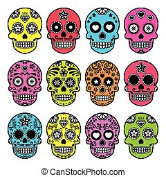 Halloween Mexican sugar skull - Vector icon set of decorated...